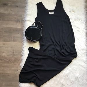 Flax rayon black maxi dress with side slits medium